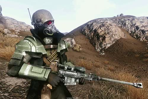 Watch (Better Resolution) GIF on Gfycat. Discover more anti material rifle, elite riot armor, fallout, fallout new vegas, fallout nv, fnv, gifs GIFs on Gfycat