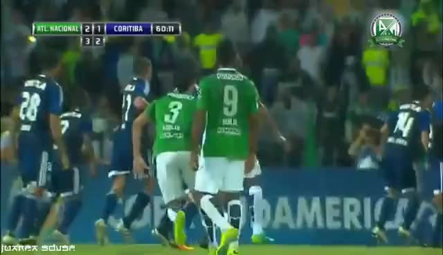 Watch and share Hat-trick De Miguel Angel Borja | Atletico Nacional 3-1 Coritiba | Copa Sudamericana 2016 GIFs on Gfycat