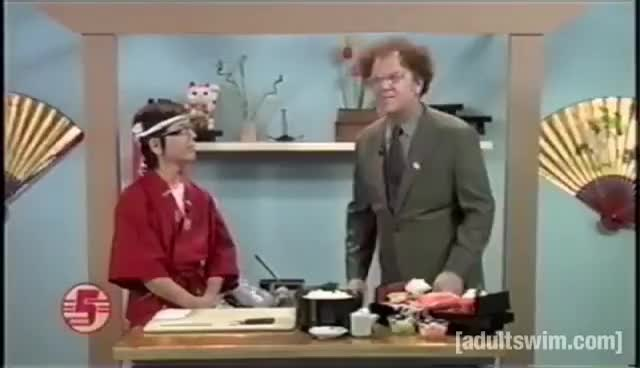 adultswim, animation, comedy, funny, parody, Brule on Sushi | Check It Out! With Dr. Steve Brule | Adult Swim GIFs