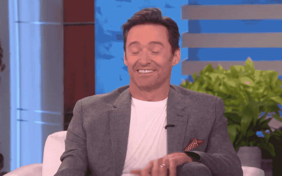 blush, cares, dgaf, ellen, hugh, idea, jackman, knows, no, no idea, show, shy, who, Hugh Jackman has no idea GIFs