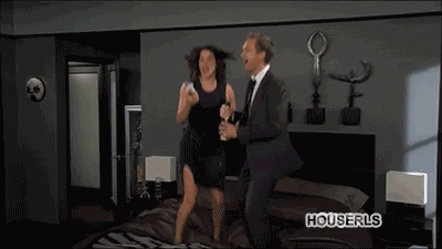 GfycatDepot, Jumping on the bed in excitement, spraying champagne [How I Met Your Mother HIMYM Robin Scherbatsky Cobie Smulders Barney Stinson NPH Neil Patrick Harris Weekend at Barney's celebration happy yay] 1MIC (reddit) GIFs