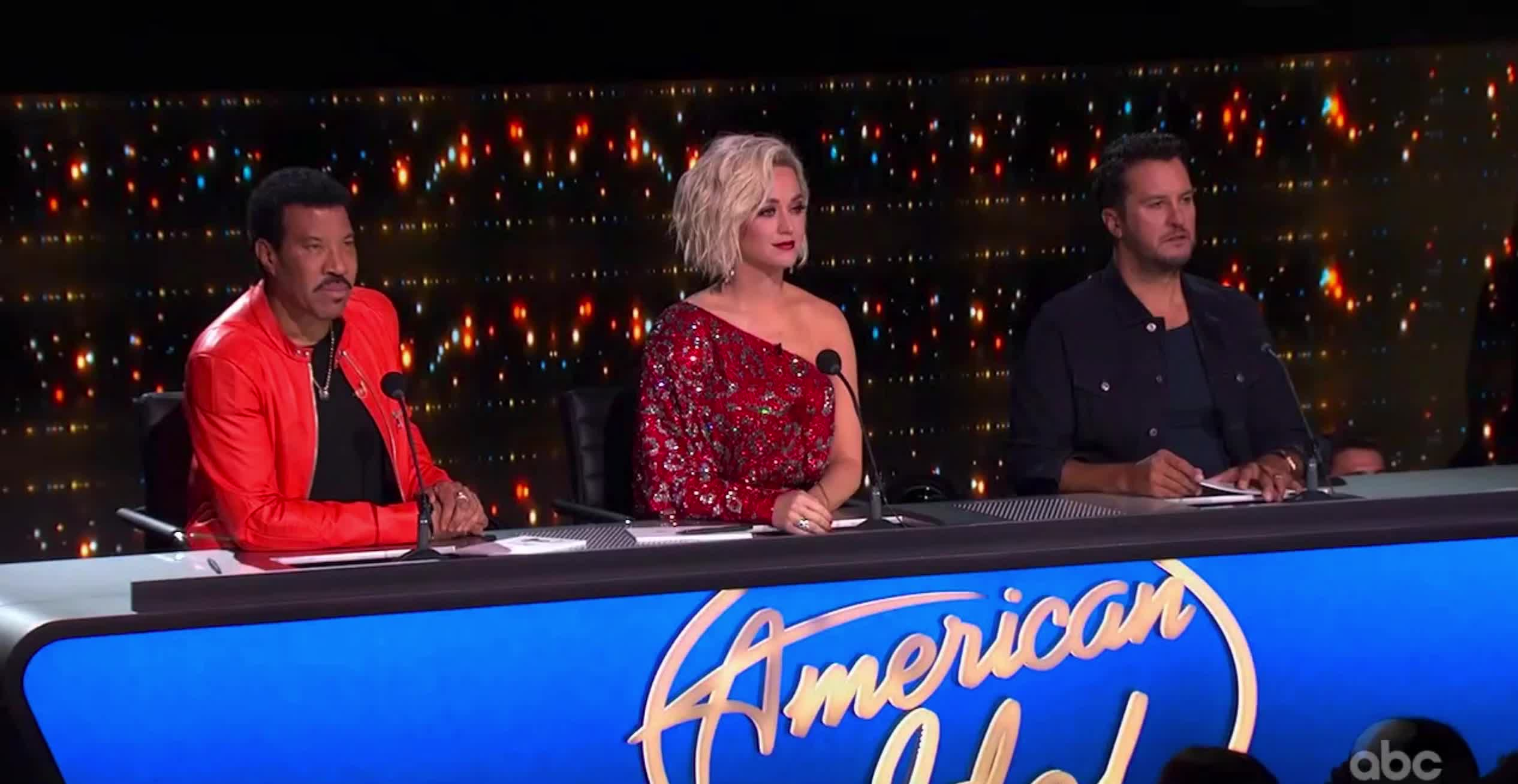 american idol, american idol season 17, americanidol, celebrity, jeremiah lloyd harmon, judges, katy perry, lionel richie, luke bryan, ryan seacrest, season 17, staring, American Idol Judges Enjoying Jeremiah's Performance GIFs