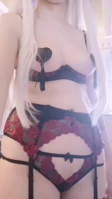 my Edelgard erocosplay with pasties and red/black nylons  - movie scene
