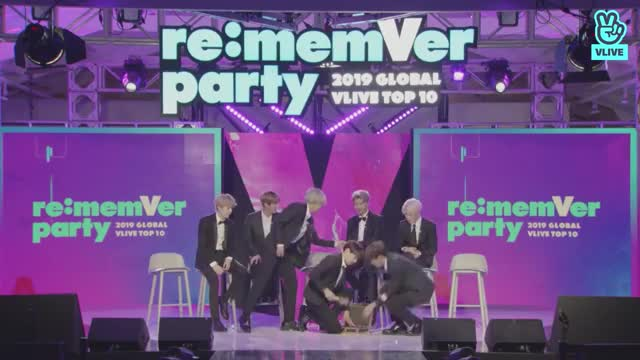 ENG SUB] BTS 2019 GLOBAL VLIVE TOP 10 - Part 1 re:memVer Party GIF