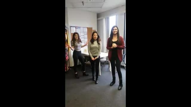 Mikaela and Becca having fun at the FBE studio
