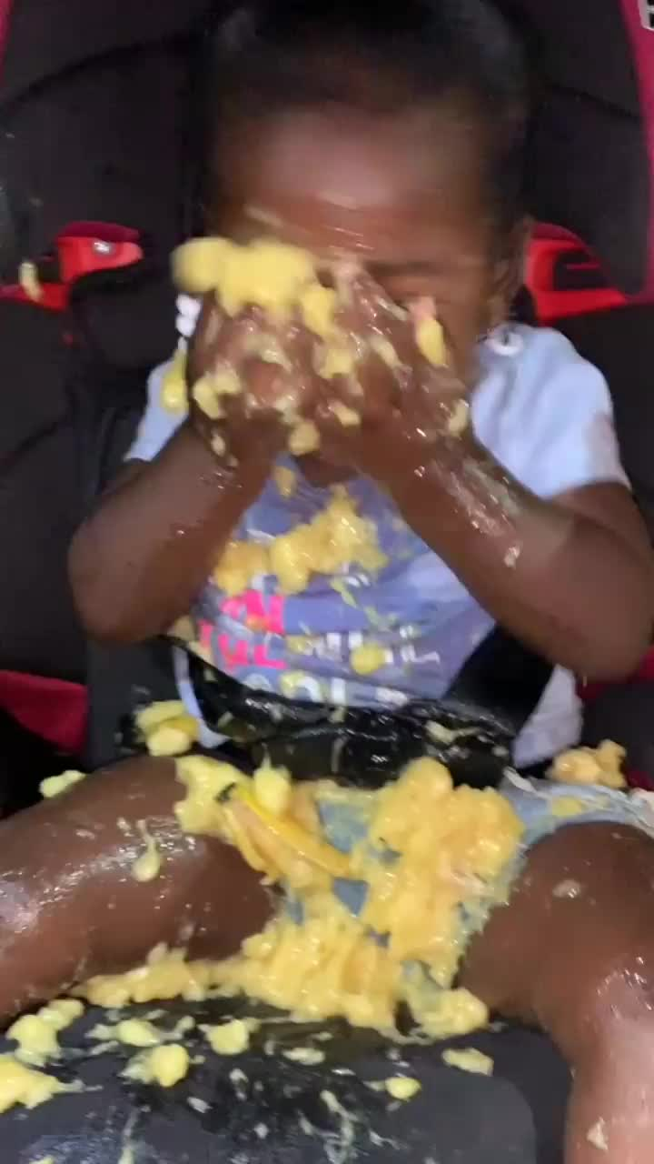 girl completely covers herself in banana, This little girl mashing up banana on her GIFs
