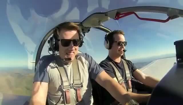 Watch and share Pilot Tries To Fix Friend's Fear Of Flying By Flying Crazy GIFs on Gfycat