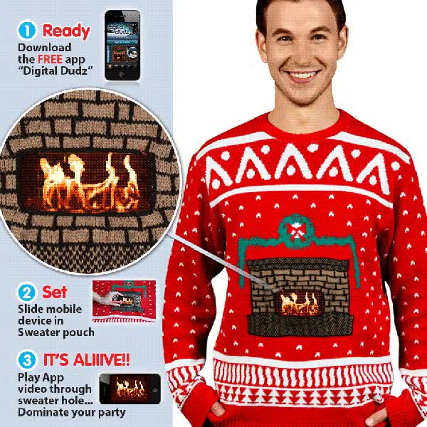 Watch and share Digital Dudz Christmas Fireplace Sweater By Mark Rober GIFs on Gfycat
