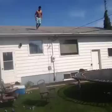 HadToHurt, yesyesyesno, Jumping off a roof onto a trampoline and then into a pool, WCGW? (reddit) GIFs