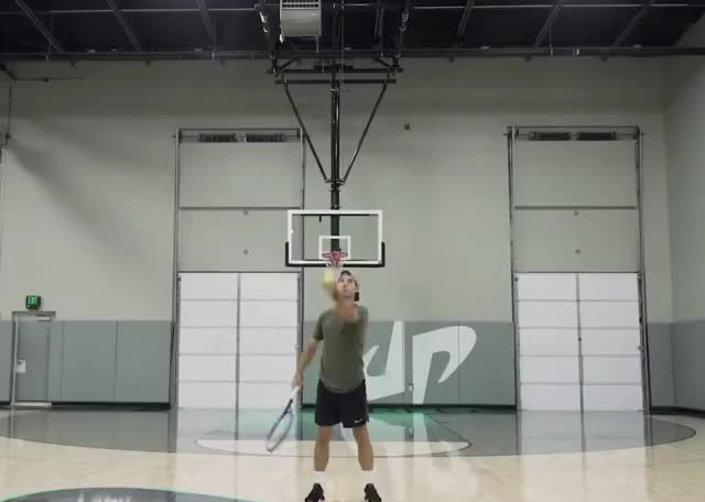 Unexpected Trick Shot you wow well way unexpected throw tennis shot perfect no made job it good dude done did basketball basket ball curated GIF