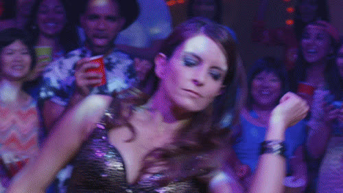 Tina Fey, clubbing, danceparty, dancing, dance party GIFs