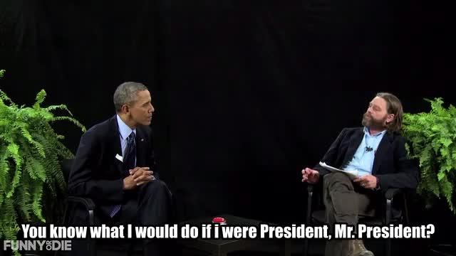 Barack Obama, Between Two Ferns with Zach Galifianakis, FoD, Obama, barack obama, between two ferns, between two ferns with zach galifianakis, fod, funny or die, funnyordie, obama, zach galifianakis, Same sex divorce GIFs