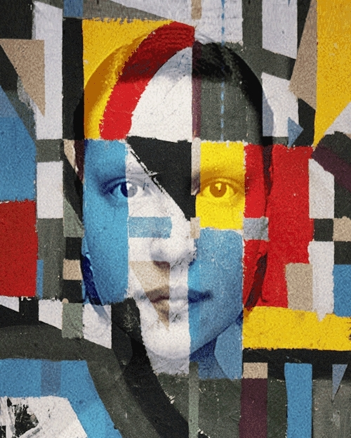 animation, art, collage, gif, mesmerizing, Mesmerize / Mondrian-ism (2015)animation from a painting of  GIFs