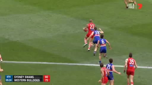 Watch Tom Boyd bombs a goal GIF by @abcnews_australia on Gfycat. Discover more afl, grand final, western bulldogs GIFs on Gfycat