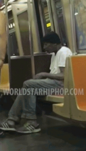 guy, humansbeingbros, takes, Guy takes Clothes from Man on NYC Train GIFs