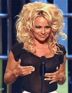Pamela Anderson shaking tits GIFs