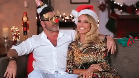 christmas, cowell, cute, happy, holidays, kiss, kissing, merry, nose, simon, xmas, Nose kiss GIFs