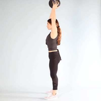 Watch and share 400x400 Davis Medicine Ball Moves Overhead Squat GIFs by Healthline on Gfycat