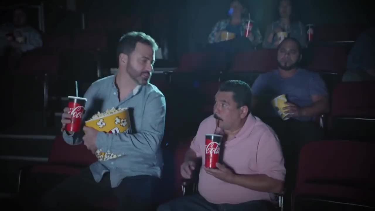 jimmy kimmel, movies, popcorn, Commercial for Coke Zero Sugar with Jimmy Kimmel and Guillermo GIFs