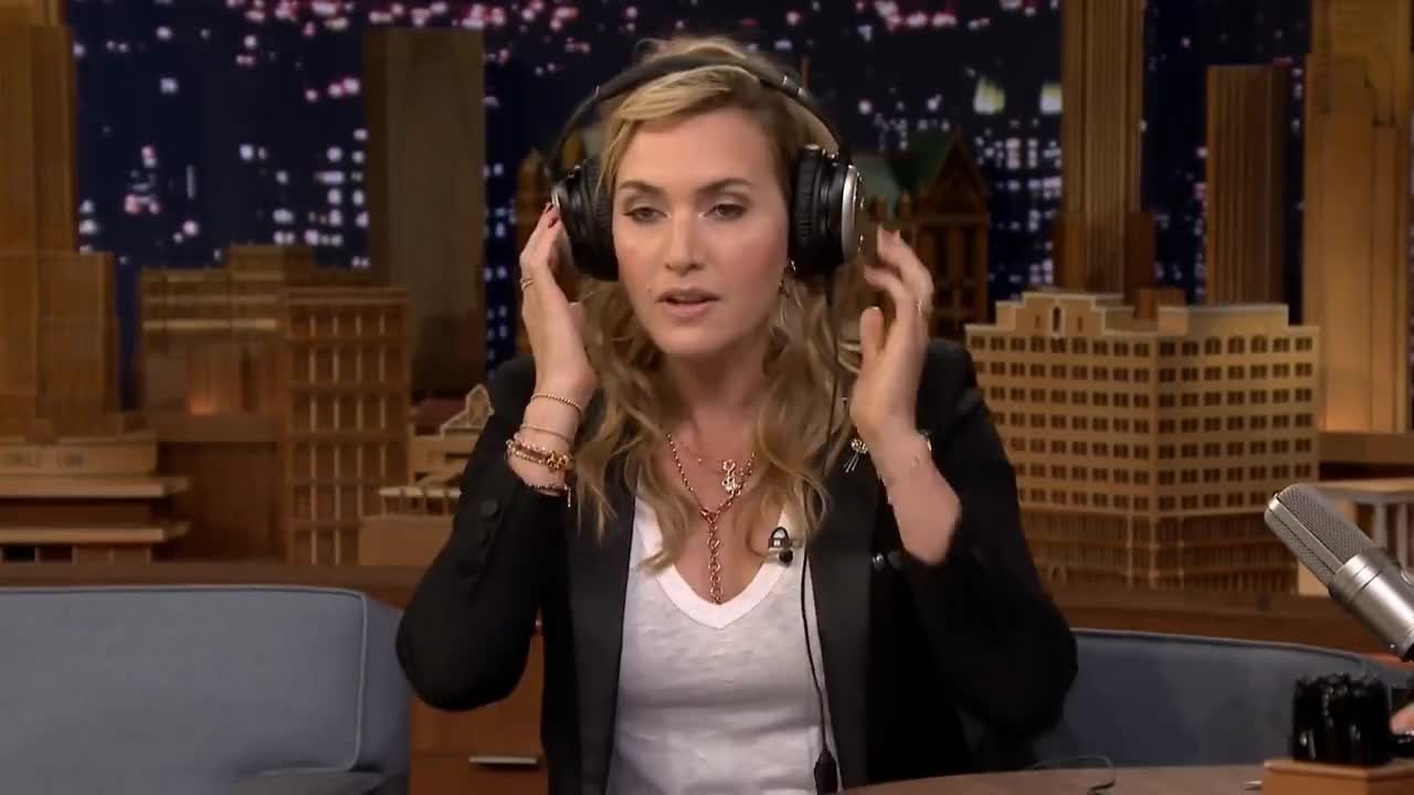 fallon tonight, headphones, kate winslet, the tonight show, the tonight show starring jimmy fallon, kw1 GIFs