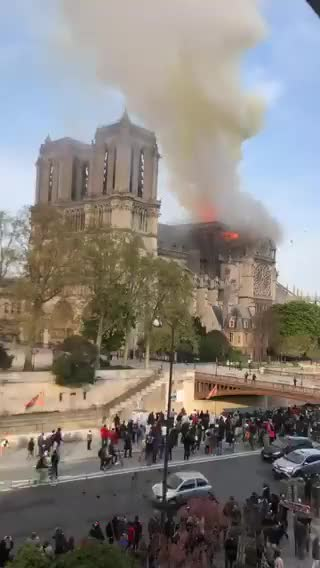 Watch and share Fire Raging At Notre Dame Cathedral In Paris GIFs on Gfycat