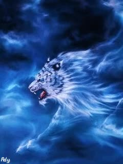 Watch and share Download Animated 240x320 «Animated Blue Fire Tiger» Cell Phone Wallpaper. Category: Fantasy GIFs on Gfycat