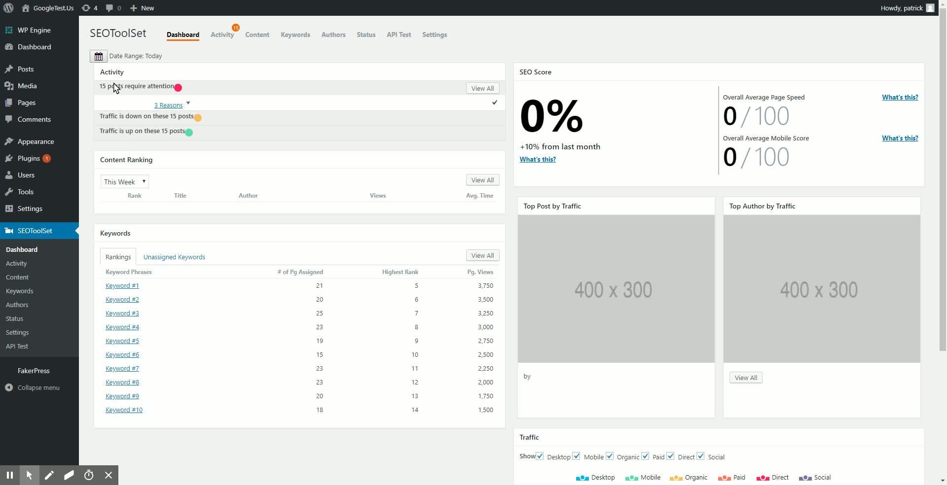 SEOToolSet Dashboard ‹ GoogleTest.Us — WordPress GIFs