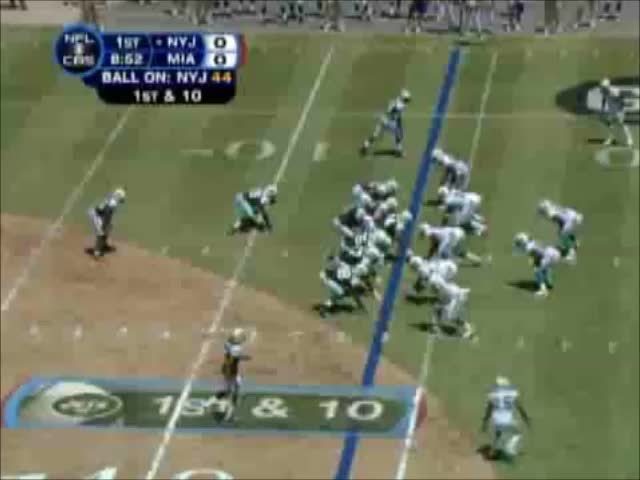nflgifs, Brett Favre with a great play-action fake before bombing it out to Cotchery for a TD (2008 Week 1; Jets vs Dolphins) (reddit) GIFs