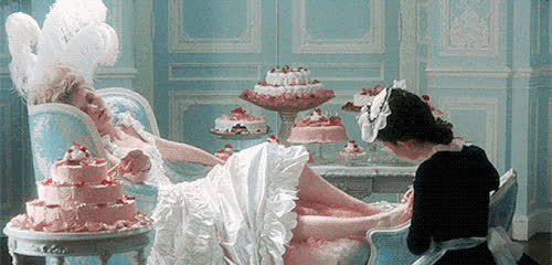 cake, france, french, kirsten dunst, lazy, marie antoinette, spa day, Marie Antoinette Cake GIFs