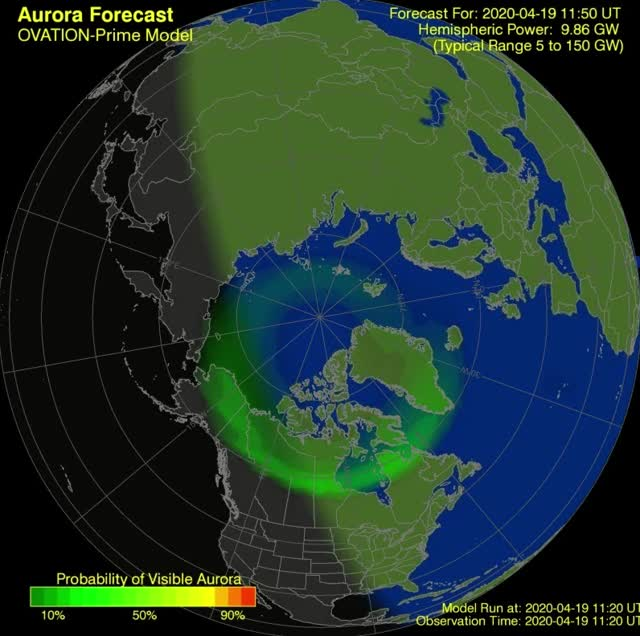 Watch and share Aurora Forecast Model - April 19 To 20, 2020 GIFs by The Watchers on Gfycat
