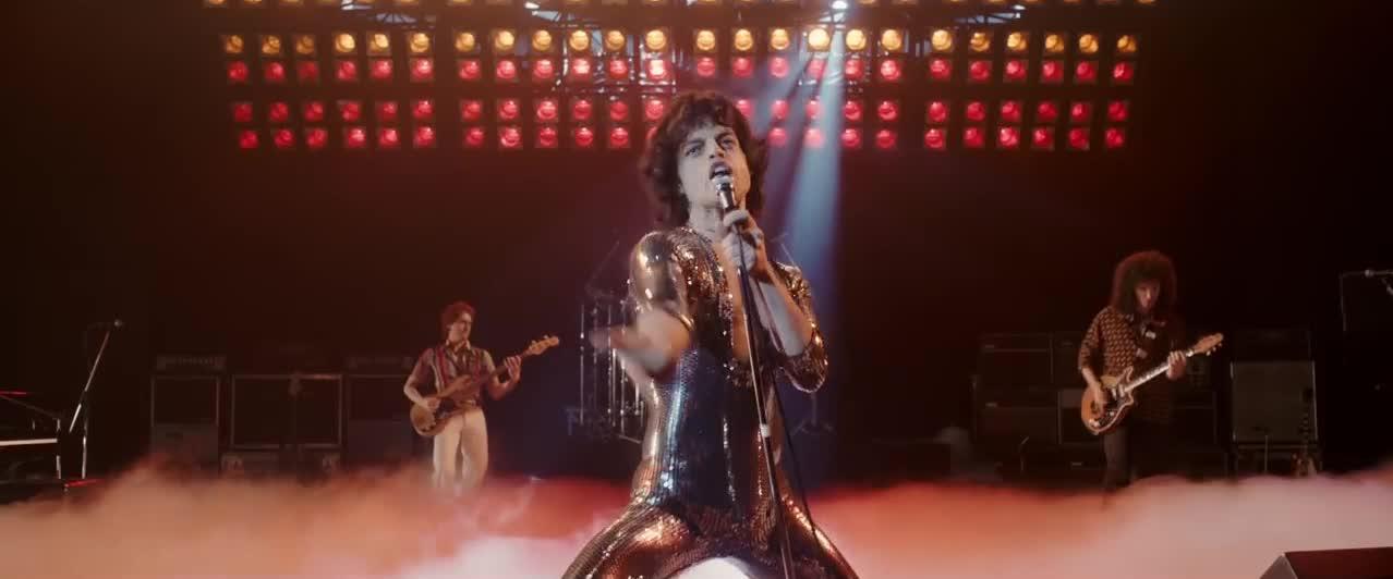 bohemian rhapsody, freddie mercury, movie, music, queen, rock and roll, Freddie's crowd presence GIFs