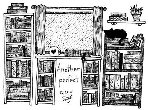 Watch and share Bookshelves GIFs and Rainy Mood GIFs on Gfycat