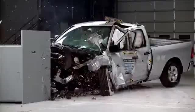 Watch and share 2016 Ram 1500 Extended Cab Small Overlap IIHS Crash Test GIFs on Gfycat