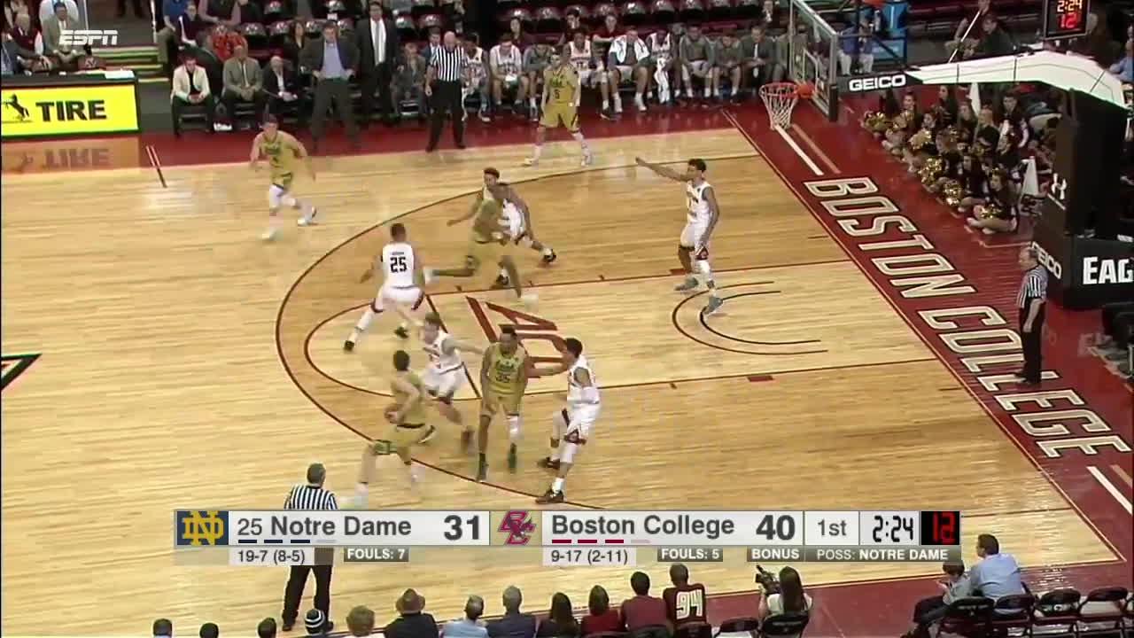 Notre Dame vs Boston College basketball 2017 (Feb. 14) GIFs