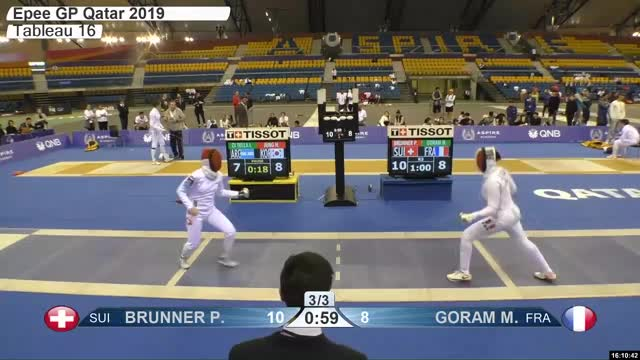 Watch BRUNNER R r 10 GIF by Scott Dubinsky (@fencingdatabase) on Gfycat. Discover more gender:, leftname: BRUNNER R r, leftscore: 10, rightname: GORAM M, rightscore: 9, time: 00027907, touch: right, tournament: doha2019, weapon: epee GIFs on Gfycat