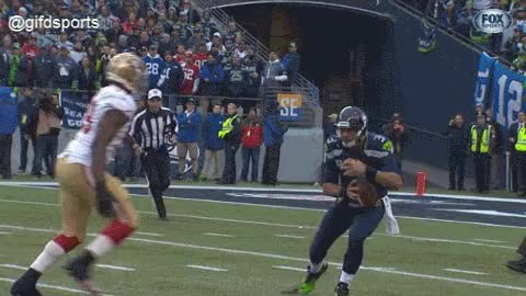 Aldon Smith forces Russel Wilson fumble GIF