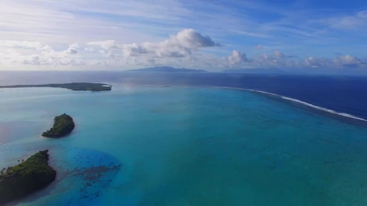dji, earthgifs, phantom, Flying over the overwater bungalows in Bora Bora - DJI Phantom 3 drone GIFs