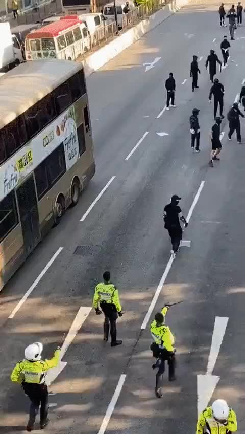 Watch and share Hong Kong Police Running Over Protests GIFs on Gfycat