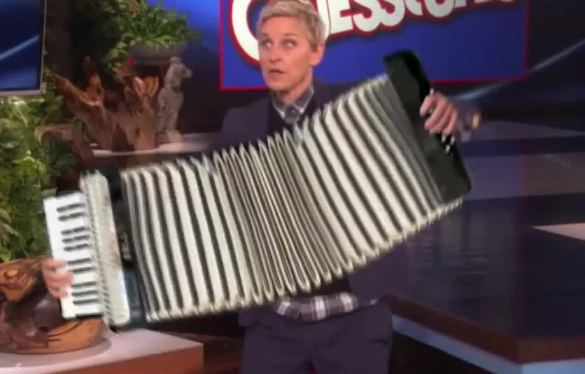accordion, celebrities, degeneres, effects, ellen, ellen degeneres, epic, fun, funny, like, lol, music, musician, party, plus, rythm, special, this, Ellen's Audience Votes to See 'Celebrities Plus Special Effects' GIFs