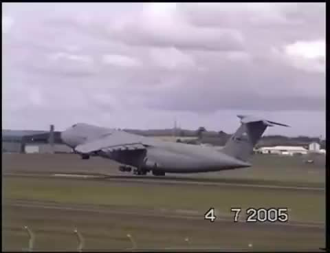 Watch and share Extremely Short Take Off Lockheed C-5 Galaxy America's Biggest Plane GIFs on Gfycat