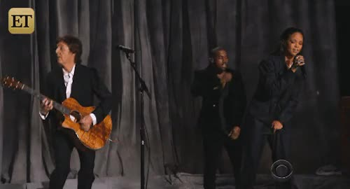 Watch Entertainment Tonight GIF on Gfycat. Discover more ETGRAMMYs, awards, celebs, fourfiveseconds, grammys 2015, kanye west, music, paul mccartney, rihanna, rihanna crotch grab, still great, tv, was paul's mic on GIFs on Gfycat