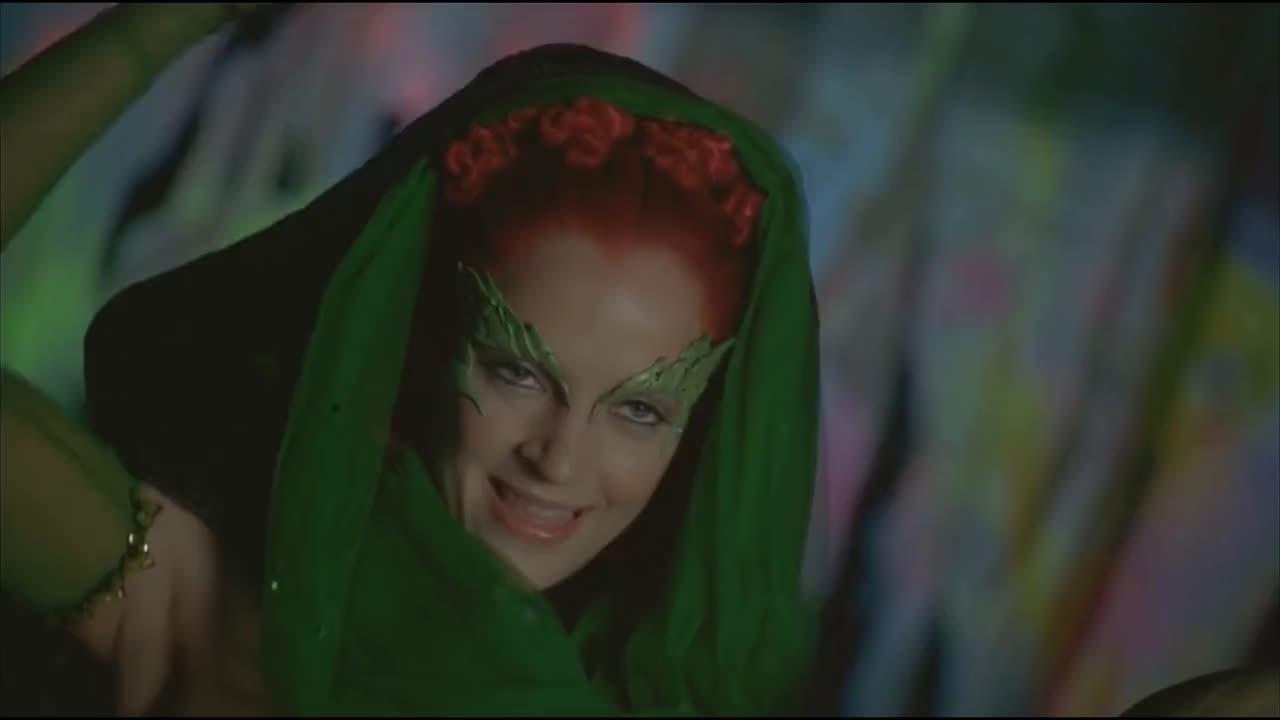 1997, Make-Up, Poison, Scary, bAne, batman, bodypaint, cool, gang, ivy, makeup, movie, paint, robin, scene, thugs, ultraviolet, uv, Bane & Poison Ivy vs The UV Paint Gang (Batman & Robin) GIFs