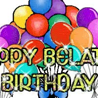 Watch and share Belated Birthday Balloons 02 animated stickers on Gfycat