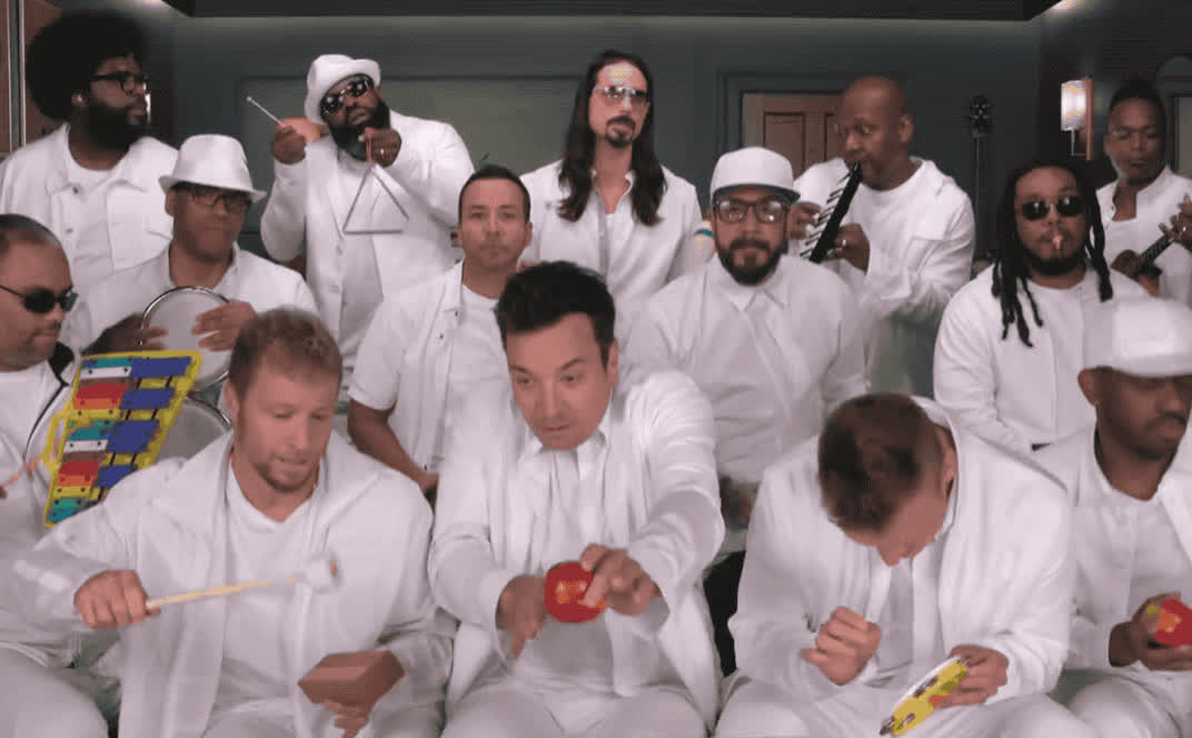 I, backstreet, band, boys, classroom, fallon, funny, gang, instruments, it, jimmy, lol, motion, party, roots, slomo, that, the, want, way, Jimmy Fallon, Backstreet Boys, The Roots - I want it that way GIFs
