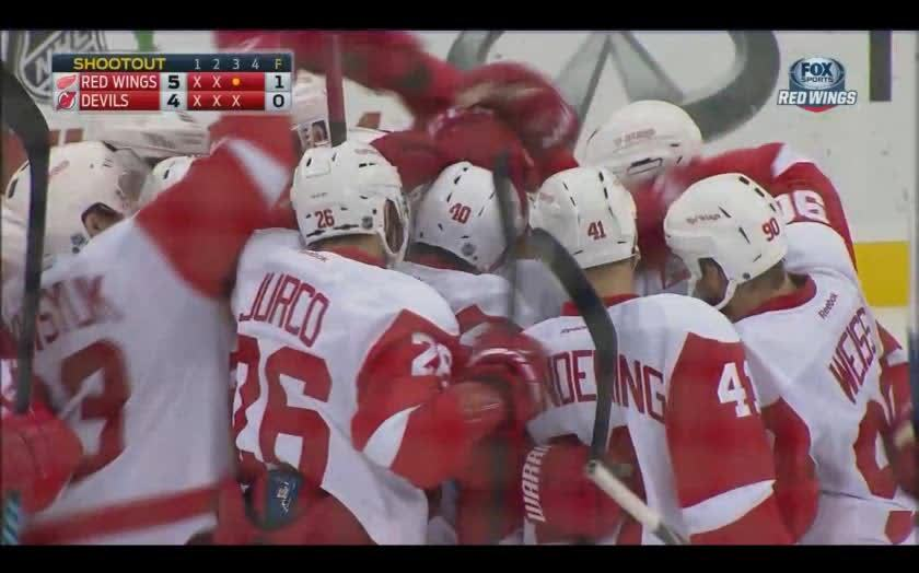 detroitredwings, hawwkey, Detroit SO win, back from 3 goals down, causes wild Mule to stampede through celebrating players (reddit) GIFs