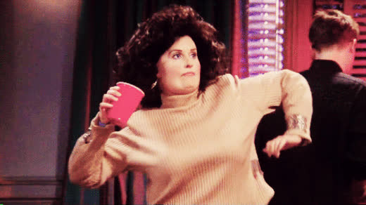 celebrate, dance, dancing, drink, excited, fat, friends, funny, monica, party, Fat Monica dance GIFs