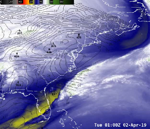 Watch and share GOES-16 6.2 Um Water Vapor Imagery - April 2, 2019 - Nor'easter GIFs by The Watchers on Gfycat