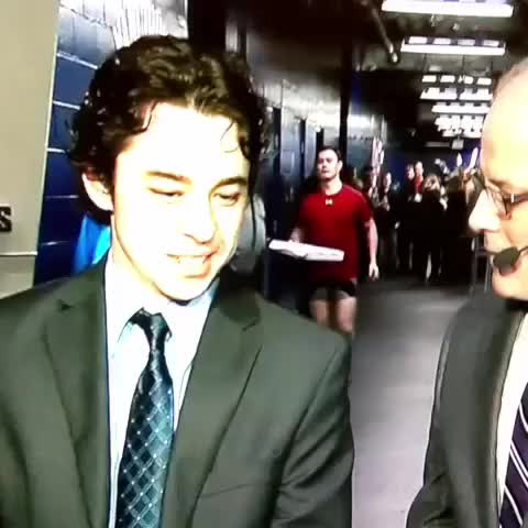 Watch Jiri Hudler interrupts a Gaudreau interview to deliver a pizza (reddit) GIF on Gfycat. Discover more calgaryflames, hockey GIFs on Gfycat