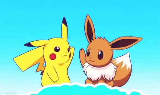 Watch and share PIkachu Eevee High Five GIFs on Gfycat