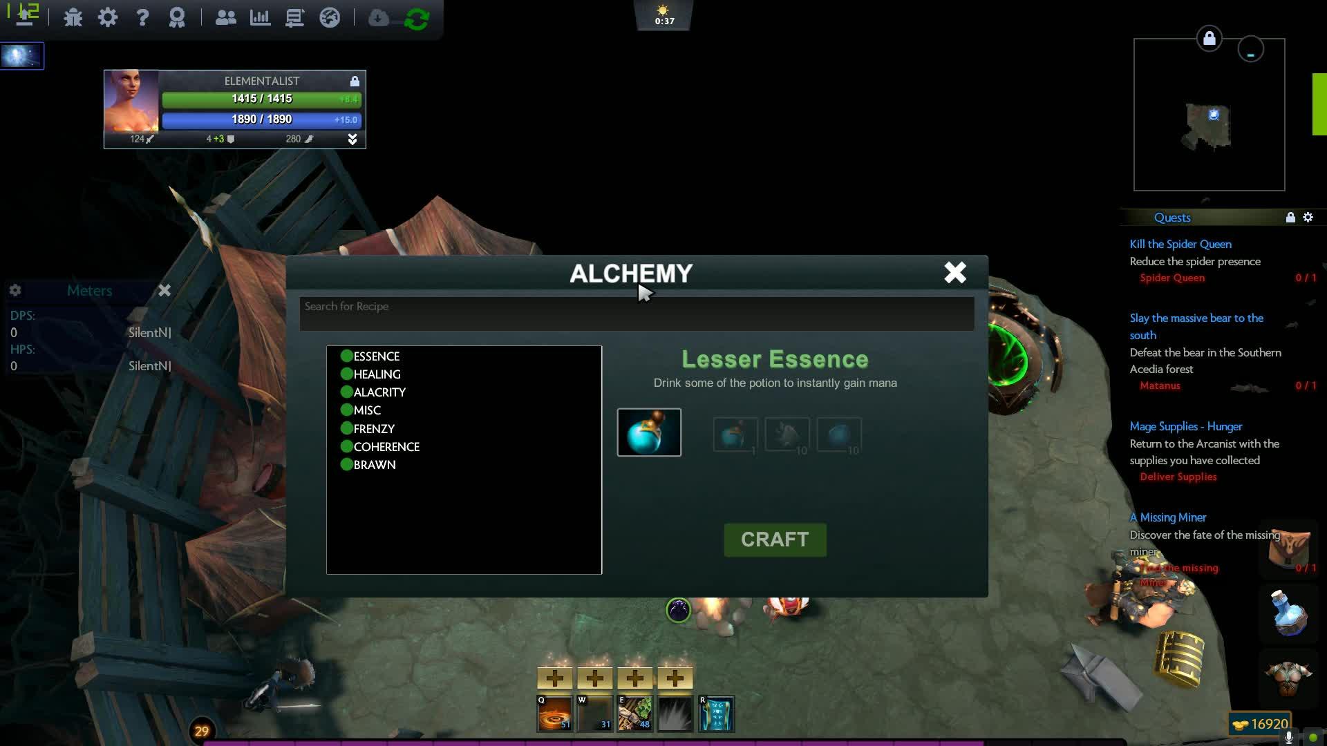 Alchemy menu UI bug GIFs